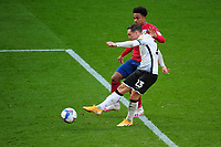 Connor Roberts of Swansea City has a shot during the Sky Bet Championship match between Swansea City and Huddersfield Town at the Liberty Stadium in Swansea, Wales, UK. Saturday 17 October 2020
