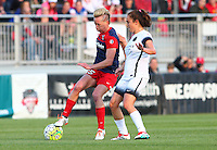 Boyds, MD - Saturday May 07, 2016: Portland Thorns FC midfielder Meleana Shim (6) comes up behind Washington Spirit midfielder Joanna Lohman (15) during a regular season National Women's Soccer League (NWSL) match at Maureen Hendricks Field, Maryland SoccerPlex. Washington Spirit tied the Portland Thorns 0-0.