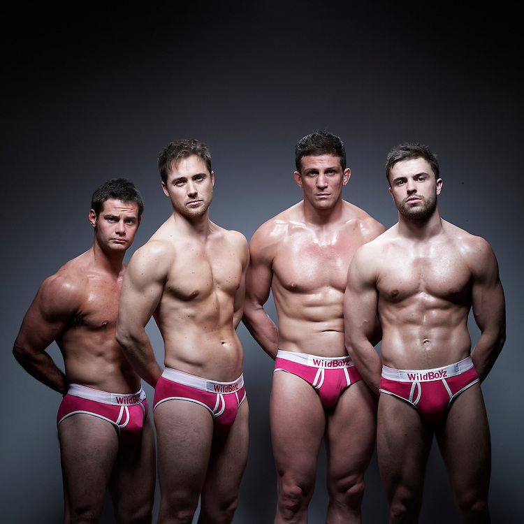 © John Angerson.Wildboyz strippers during rehersals in Deptford, London. From left ( file 001) Dale Howard, Marcus Patrick, Alex Reid, Danny Young.
