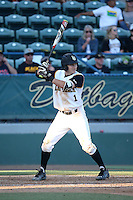 Garrett Hampson (1) of the Long Beach State Dirtbags bats against the Arizona State Sun Devils at Blair Field on February 27, 2016 in Long Beach, California. Long Beach State defeated Arizona State, 5-2. (Larry Goren/Four Seam Images)