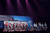 Both the Men's & Women's Team Trek Segafredo are presented to the crowd simultaneously at the pre-race team presentation in the legendary Kuipke <br /> <br /> <br /> 74th Omloop Het Nieuwsblad 2019 (BEL)<br /> Gent – Ninove: 200km<br /> ©kramon