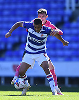 5th April 2021; Madejski Stadium, Reading, Berkshire, England; English Football League Championship Football, Reading versus Derby County;  Jason Knight of Derby County competes for the ball with Andy Rinomhota of Reading
