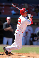 Illinois State Redbirds outfielder Chad Hinshaw #18 during a game vs. the Ohio State Buckeyes at Chain of Lakes Park in Winter Haven, Florida;  March 11, 2011.  Illinois defeated Ohio State 12-1.  Photo By Mike Janes/Four Seam Images