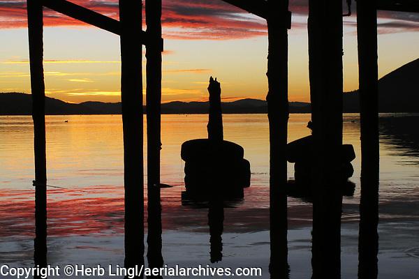 Waterfront view of Clear Lake at dawn, Lakeport, Lake County, California