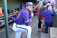 Right fielder Seth Beer (28) of the Clemson Tigers watches the action in the Reedy River Rivalry game against the South Carolina Gamecocks on Saturday, March 3, 2018, at Fluor Field at the West End in Greenville, South Carolina. Clemson won, 5-1. (Tom Priddy/Four Seam Images)