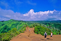 Vacationers explore the Pihea Trail in Kokee State Park