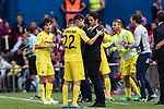 Villarreal CF players celebrate after winning the match between Atletico de Madrid vs Villarreal CF at the Estadio Vicente Calderon on 25 April 2017 in Madrid, Spain. Photo by Diego Gonzalez Souto / Power Sport Images