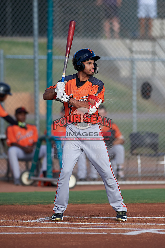 AZL Giants Orange Najee Gaskins (32) at bat during an Arizona League game against the AZL Giants Black on July 19, 2019 at the Giants Baseball Complex in Scottsdale, Arizona. The AZL Giants Black defeated the AZL Giants Orange 8-5. (Zachary Lucy/Four Seam Images)