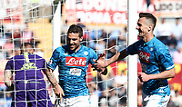 Football, Serie A: AS Roma - SSC Napoli, Olympic stadium, Rome, March 31, 2019. <br /> Napoli's Simone Verdi (l) celebrates after scoring with his teammate Arkadiusz Milik (r) during the Italian Serie A football match between Roma and Napoli at Olympic stadium in Rome, on March 31, 2019.<br /> UPDATE IMAGES PRESS/Isabella Bonotto