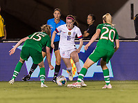 PASADENA, CA - AUGUST 4: Rose Lavelle #16 tries to move into the box during a game between Ireland and USWNT at Rose Bowl on August 3, 2019 in Pasadena, California.