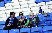 Pictured: A woman with two young girls Everton supporters. Sunday 16 February 2014<br /> Re: FA Cup, Everton v Swansea City FC at Goodison Park, Liverpool, UK.