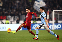 Football, Serie A: AS Roma - S.S. Lazio, Olympic stadium, Rome, January 26, 2020. <br /> Roma's Cengiz Under (l) in action witht Lazio's Stefan Radu(r) during the Italian Serie A football match between Roma and Lazio at Olympic stadium in Rome, on January,  26, 2020. <br /> UPDATE IMAGES PRESS/Isabella Bonotto