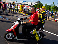 May 6, 2018; Commerce, GA, USA; NHRA top fuel driver Leah Pritchett (right) celebrates with team owner Don Schumacher after winning the Southern Nationals at Atlanta Dragway. Mandatory Credit: Mark J. Rebilas-USA TODAY Sports