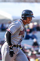 Quad Cities River Bandits first baseman Taylor Jones (46) runs to first base during a Midwest League game against the Wisconsin Timber Rattlers on April 8, 2017 at Fox Cities Stadium in Appleton, Wisconsin.  Wisconsin defeated Quad Cities 3-2. (Brad Krause/Four Seam Images)