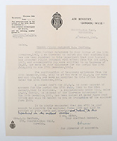BNPS.co.uk (01202) 558833. <br /> Pic: C&TAuctions/BNPS<br /> <br /> Pictured: A letter, dated January 16, 1942, informing Joan that her husband had been promoted to Flight Sergeant in April 1941 and therefore she was entiltled to increase in her weekly allowance. <br /> <br /> The poignant archive of a tragic Battle of Britain hero has been discovered in a suitcase.<br /> <br /> Flight Sergeant Eric Redfern had been married to Joan Preston for a few weeks when he was shot down and killed in 1941.<br /> <br /> The 27 year old Hurricane pilot was ambushed by German fighters during a raid on enemy supply vessels at Le Touquet in northern France.