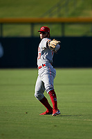 AZL Reds second baseman Jorge Sequera (27) during an Arizona League game against the AZL Cubs 2 on July 23, 2019 at Sloan Park in Mesa, Arizona. AZL Cubs 2 defeated the AZL Reds 5-3. (Zachary Lucy/Four Seam Images)