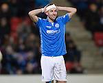St Johnstone v Dundee United...27.12.14   SPFL<br /> Steven MacLean back after his long term injury, in the wars once again, this time with a head knock<br /> Picture by Graeme Hart.<br /> Copyright Perthshire Picture Agency<br /> Tel: 01738 623350  Mobile: 07990 594431