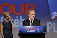 September 4, 2012 - Sherbrooke (Qc) CANADA - Quebec Premier and Liberal leader Jean Charest aknowledge loosing <br /> the Provincial election to Parti Quebecois (PQ) Leader Pauline Marois, while his wife and kids stand beside him (left)- IN PHOTO : his wife briefly shed a tear.<br /> <br /> Photo (c) 2012 by Raffi Kirdi