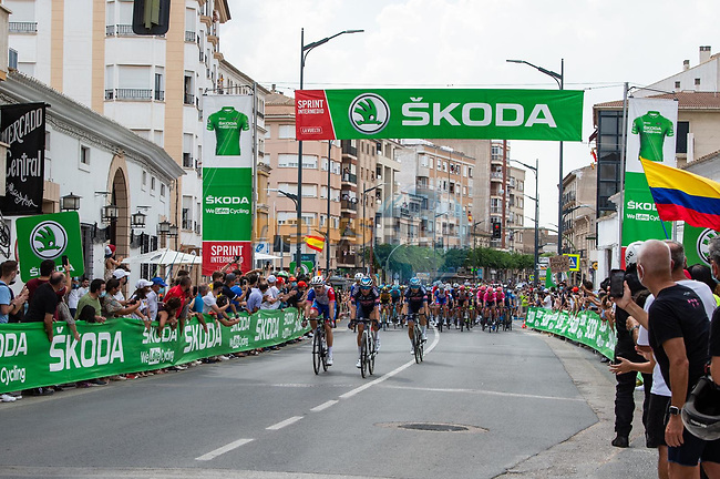 Intermediate sprint point during Stage 5 of La Vuelta d'Espana 2021, running 184.4km from Tarancón to Albacete, Spain. 18th August 2021.    <br /> Picture: Cxcling | Cyclefile<br /> <br /> All photos usage must carry mandatory copyright credit (© Cyclefile | Cxcling)
