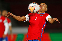 13th November 2020; National Stadium of Santiago, Santiago, Chile; World Cup 2020 Football qualification, Chile versus Peru;  Alexis Sanchez of Chile brings donw a high ball on his chest