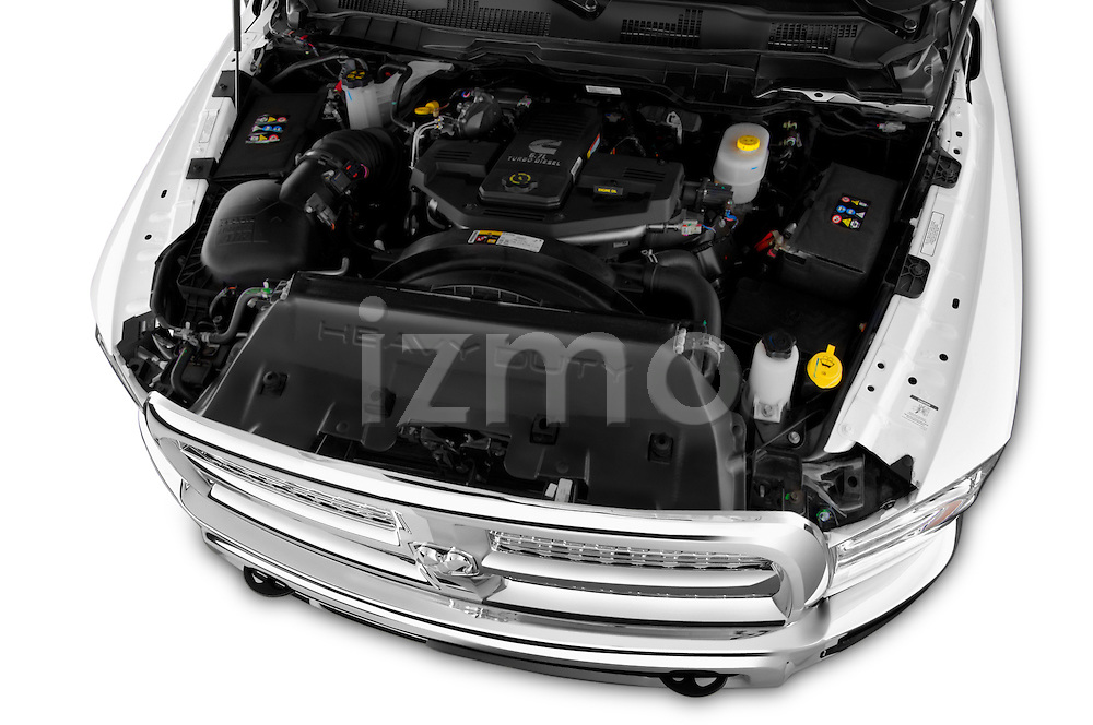 Car Stock 2017 Ram 2500 Laramie Mega Cab 4 Door Truck Engine high angle detail view