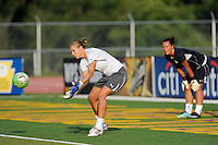 Chicago Red Stars goalkeeper Jillian Loyden (1) watches goalkeeper Allison Whitworth (31) warm up. The Philadelphia Independence defeated the Chicago Red Stars 3-0 during a Women's Professional Soccer (WPS) match at John A. Farrell Stadium in West Chester, PA, on July 28, 2010.