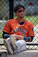 GCL Astros Jose Mendoza (13) during a Gulf Coast League game against the GCL Nationals on August 9, 2019 at FITTEAM Ballpark of the Palm Beaches training complex in Palm Beach, Florida.  GCL Nationals defeated the GCL Astros 8-2.  (Mike Janes/Four Seam Images)