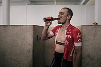 post-race beer for John Degenkolb (DEU/Trek-Segafredo) in the famous Roubaix showers<br /> <br /> 116th Paris-Roubaix (1.UWT)<br /> 1 Day Race. Compiègne - Roubaix (257km)