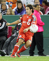 Nick Garcia #4 of Toronto FC during an MLS match against D.C. United that was the final appearance of D.C. United's Jaime Moreno at RFK Stadium, in Washington D.C. on October 23, 2010. Toronto won 3-2.