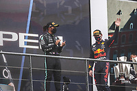 29th August 2021; Spa Francorchamps, Stavelot, Belgium: FIA F1 Grand Prix of Belgium,  race day: After cancellation of the race due to standing water on track,  VERSTAPPEN Max (ned), Red Bull Racing Honda RB16B, portrait celebrates his victory HAMILTON Lewis (gbr), Mercedes AMG F1 GP W12 E Performance, portrait during the Formula 1 Belgium Grand Prix,