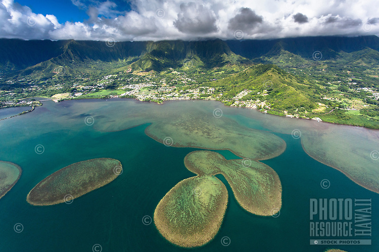 An aerial view of Kane'ohe Bay and the Ko'olau Mountains at Kahalu'u, O'ahu.