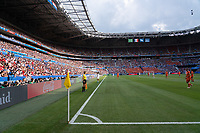 LYON, FRANCE - JULY 07: Corner flag and fans during a game between Netherlands and USWNT at Stade de Lyon on July 07, 2019 in Lyon, France.