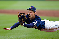 Brandon Healy (14) of the Oral Roberts Golden Eagles makes a catch on a short hit to the infield during a game against the Missouri State Bears on March 27, 2011 at Hammons Field in Springfield, Missouri.  Photo By David Welker/Four Seam Images