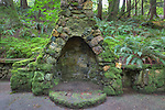 """Rock fireplace at """"Portland's Secret Garden"""",  Leach Garden was established by JOhn and Lilla Leach in the 1930's.  The Garden continues as a public place of respite and native northewest botanical display.  Operated by the city of Portland, Oregon.."""