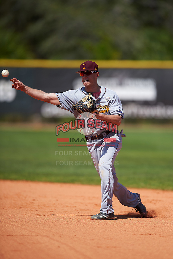 Central Michigan Chippewas Chase Rollin (30) during practice before a game against the Boston College Eagles on March 3, 2017 at North Charlotte Regional Park in Port Charlotte, Florida.  Boston College defeated Central Michigan 5-4.  (Mike Janes/Four Seam Images)