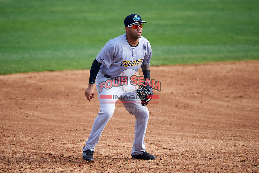 Trenton Thunder third baseman Cito Culver (23) during the first game of a doubleheader against the Hartford Yard Goats on June 1, 2016 at Sen. Thomas J. Dodd Memorial Stadium in Norwich, Connecticut.  Trenton defeated Hartford 4-2.  (Mike Janes/Four Seam Images)