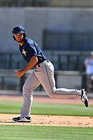 Outfielder Desmond Lindsay (7) of the Columbia Fireflies during the team's first workout of the season on Sunday, April 2, 2017, at Spirit Communications Park in Columbia, South Carolina. (Tom Priddy/Four Seam Images)