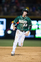 Hunter Jones (33) of the Charlotte 49ers hustles towards third base against the North Carolina State Wolfpack at BB&T Ballpark on March 31, 2015 in Charlotte, North Carolina.  The Wolfpack defeated the 49ers 10-6.  (Brian Westerholt/Four Seam Images)