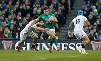 Saturday 2nd February 2019 | Ireland vs England<br /> <br /> Jacob Stockdale is tackled by Tom Curry during the opening Guinness 6 Nations clash between Ireland and England at the Aviva Stadium, Lansdowne Road, Dublin, Ireland.  Photo by John Dickson / DICKSONDIGITAL