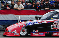 Feb. 12, 2012; Pomona, CA, USA; Detailed view of damage on the front of the funny car of NHRA driver Gary Densham after hitting Jack Beckman (not pictured) during the Winternationals at Auto Club Raceway at Pomona. Mandatory Credit: Mark J. Rebilas-