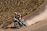 Motorcycle rider JAntoine Meo from France riding his KTM bike during the 5th stage of the Dakar Rally 2016 in the Bolivian Altiplano.
