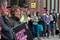 Stirke by workers at Amnesty International in London. 12-9-12