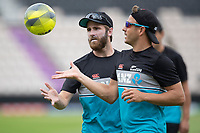 Kane Williamson, New Zealand and Neil Wagner during a training session ahead of the ICC World Test Championship Final at the Hampshire Bowl on 17th June 2021