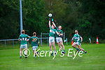 Conor O'Keeffe  Finuge and Gary O'Sullivan Listry contesting the kick out during their Junior Premier Championship game in Fr Myles Allman Park Listry on Saturday