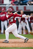 Kyle Enders (18) of the South Carolina Gamecocks follows through on his swing versus the East Carolina Pirates at Sarge Frye Field in Columbia, SC, Sunday, February 24, 2008.