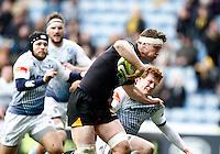 Photo: Richard Lane/Richard Lane Photography. Wasps v Cardiff Blues. LV= Cup. 01/02/2015. Wasps' Will Rowlands attacks.