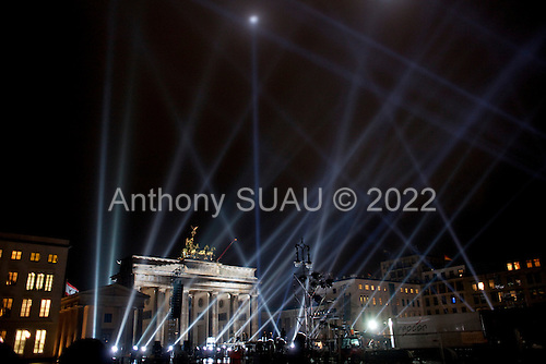 Berlin, Germany<br /> November 4, 2009<br /> <br /> The Brandenburger Tor is lit up for the events to mark the 20th anniversary of fall of the Berlin Wall on November 9,1989.