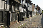 Rye East Sussex UK. Medieval building family homes in Church Square. Cobbled streets tourists sightseeing.