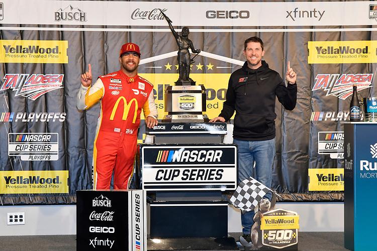 #23: Bubba Wallace, 23XI Racing, Toyota Camry McDonald's, #11: Denny Hamlin, celebrates after winning.