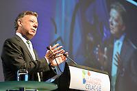 SANTIAGO DE CHILE-26-01-2013. Juan Manuel Santos, Presidente de Colombia, durante su discurso en la IV Cumbre Empresarial de Estados Latinoamericanos y Caribeños y la Unión Europea (CELAC - UE). Foto: Javier Casella / SIG. / Juan Manuel Santos, Colombian President, during his speech at the IV CELAC - UE 2013. Photo: VizzorImage/ JavierCasella - SIG /HANDOUT PICTURE; MANDATORY USE EDITORIAL ONLY/